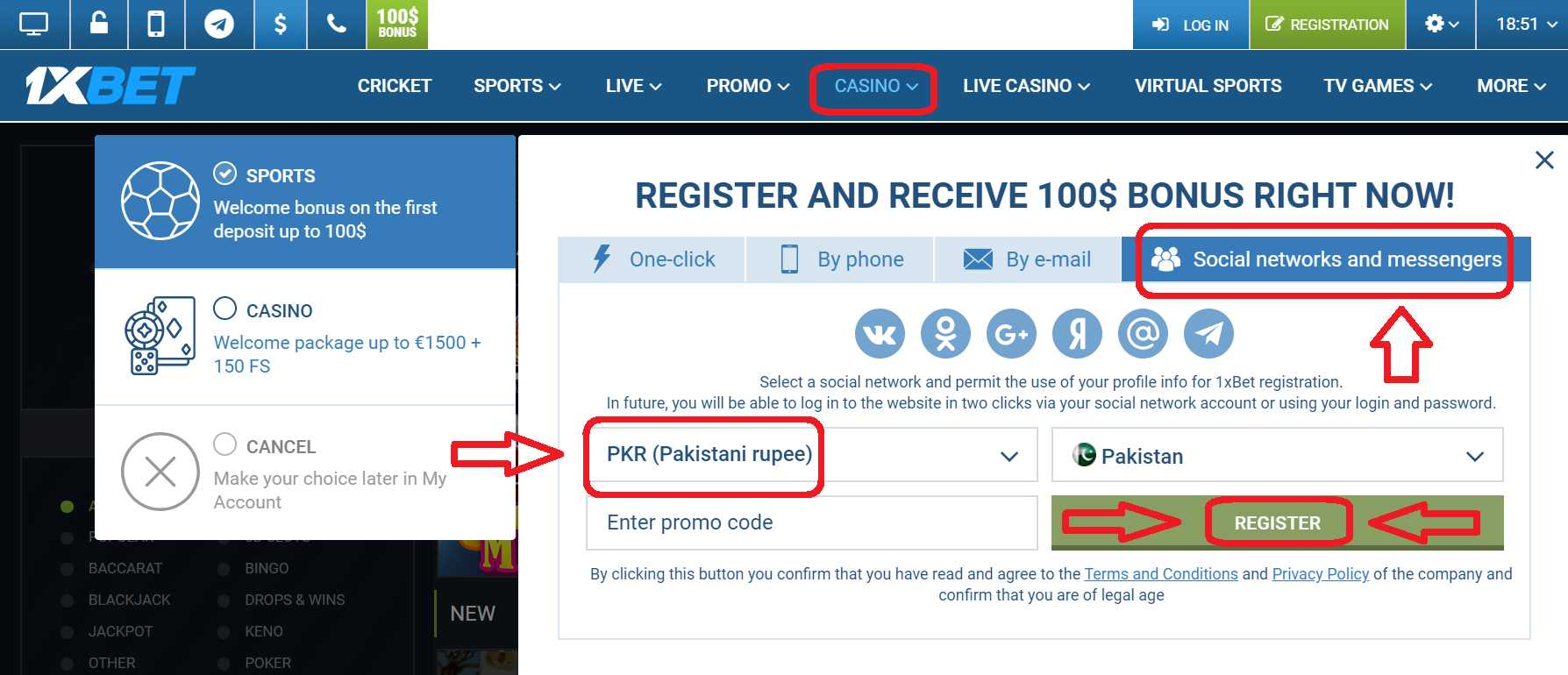 1xBet - Register Utilizing Your Social Network Account